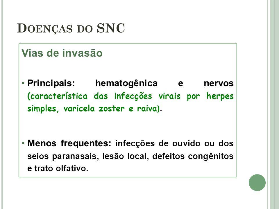 Doenças do SNC Vias de invasão