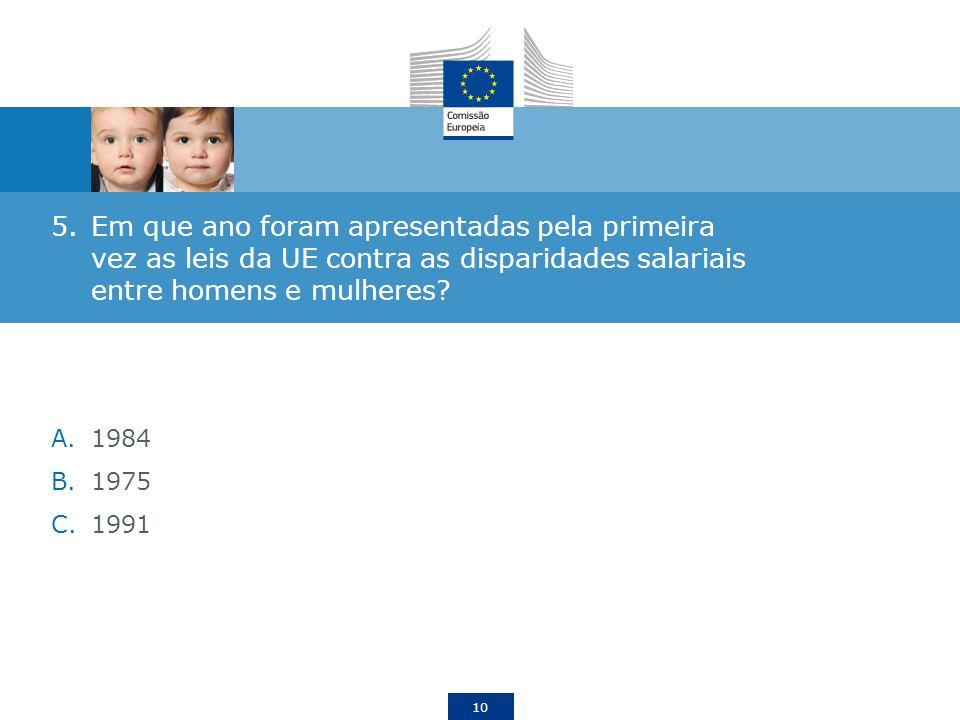 Em que ano foram apresentadas pela primeira vez as leis da UE contra as disparidades salariais entre homens e mulheres