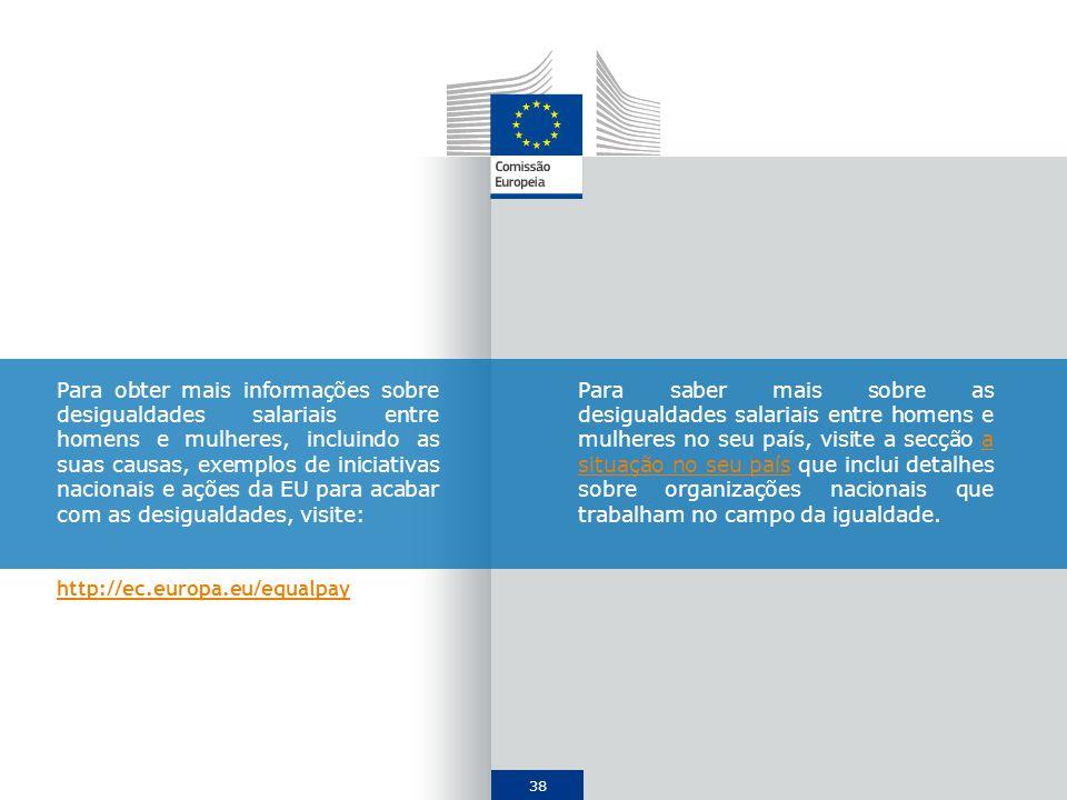 Para obter mais informações sobre desigualdades salariais entre homens e mulheres, incluindo as suas causas, exemplos de iniciativas nacionais e ações da EU para acabar com as desigualdades, visite: