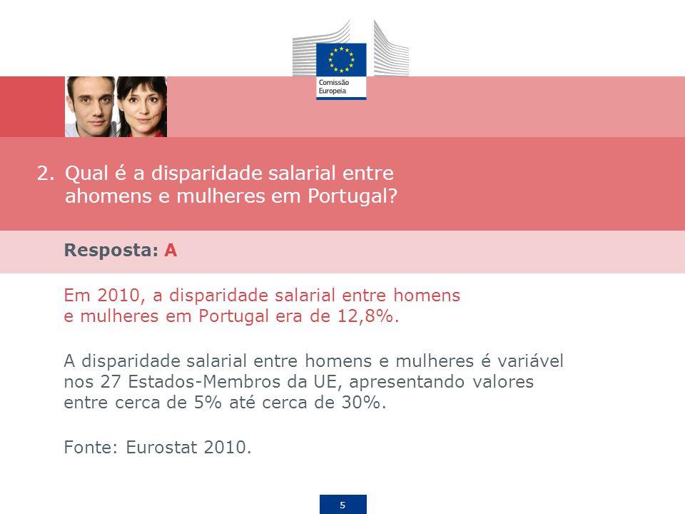 Qual é a disparidade salarial entre ahomens e mulheres em Portugal