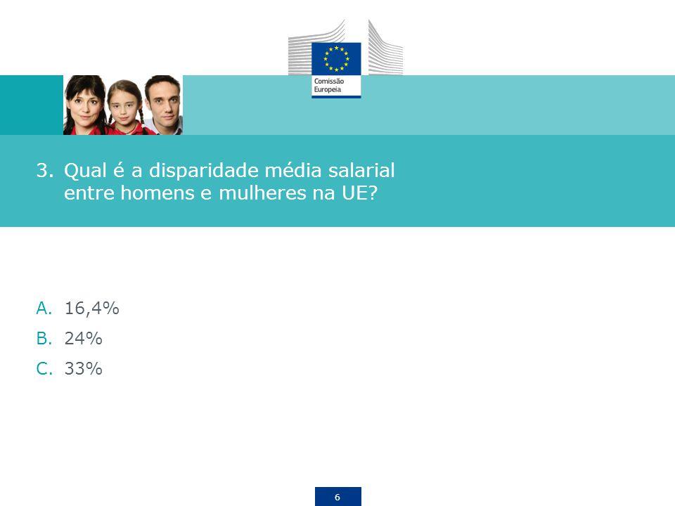 Qual é a disparidade média salarial entre homens e mulheres na UE