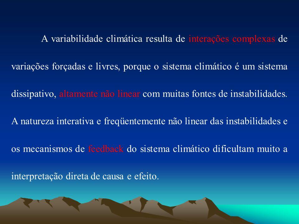 A variabilidade climática resulta de interações complexas de variações forçadas e livres, porque o sistema climático é um sistema dissipativo, altamente não linear com muitas fontes de instabilidades.