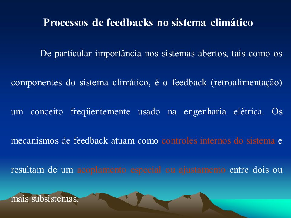 Processos de feedbacks no sistema climático