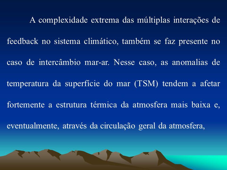 A complexidade extrema das múltiplas interações de feedback no sistema climático, também se faz presente no caso de intercâmbio mar-ar.