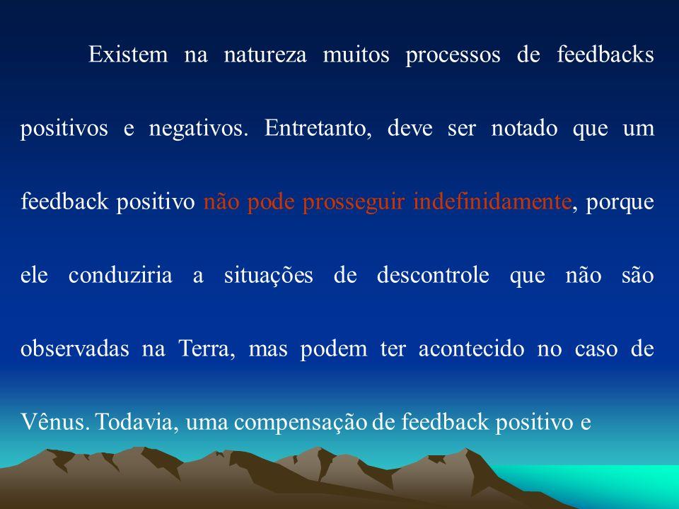 Existem na natureza muitos processos de feedbacks positivos e negativos.