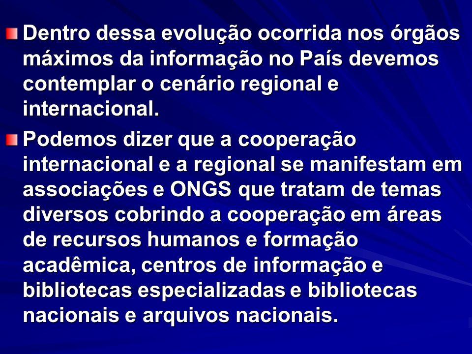 Dentro dessa evolução ocorrida nos órgãos máximos da informação no País devemos contemplar o cenário regional e internacional.