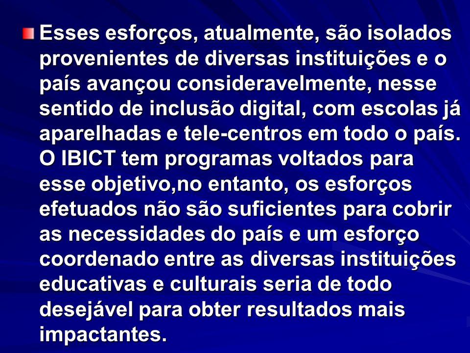 Esses esforços, atualmente, são isolados provenientes de diversas instituições e o país avançou consideravelmente, nesse sentido de inclusão digital, com escolas já aparelhadas e tele-centros em todo o país.