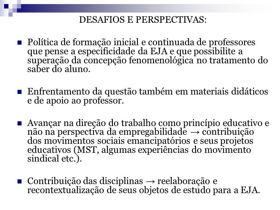 DESAFIOS E PERSPECTIVAS: