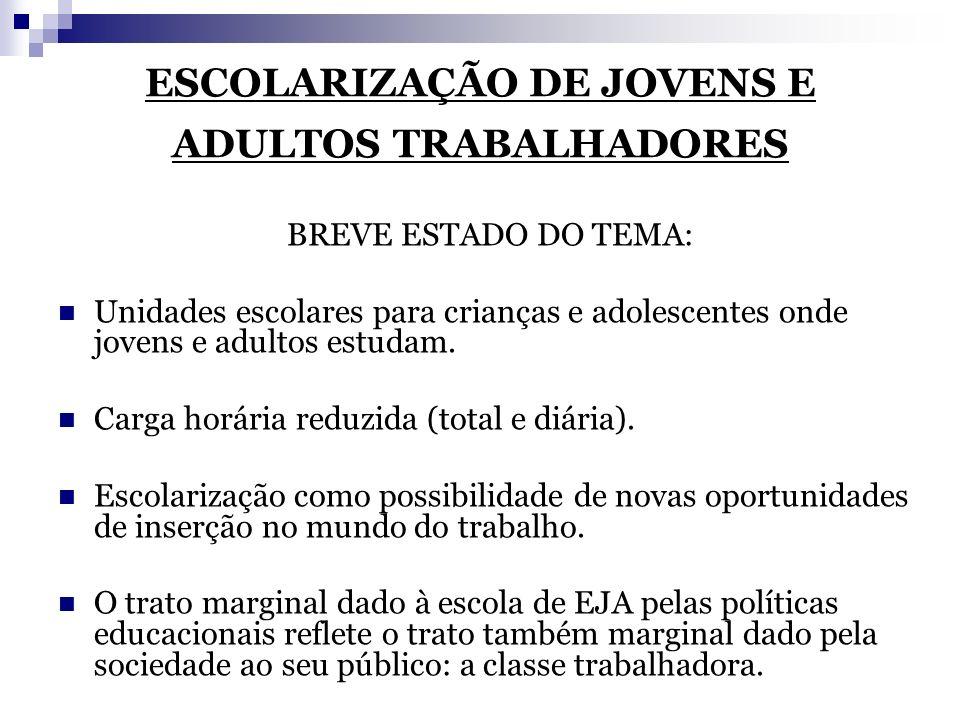 ESCOLARIZAÇÃO DE JOVENS E ADULTOS TRABALHADORES