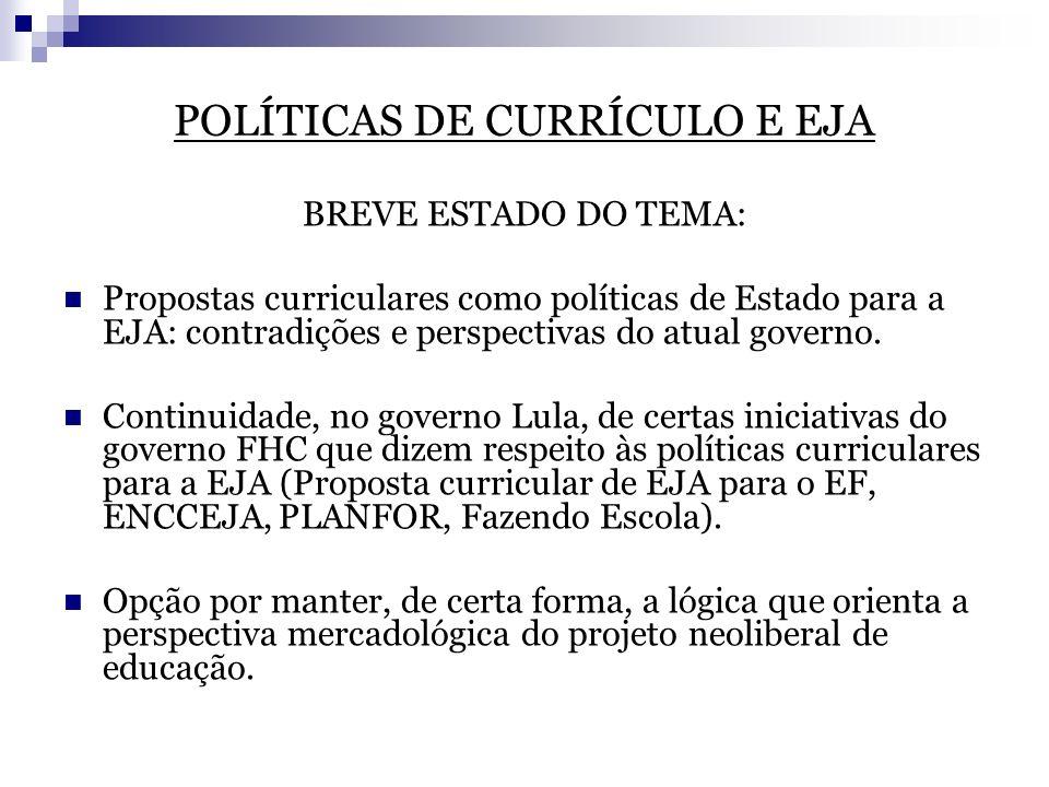 POLÍTICAS DE CURRÍCULO E EJA