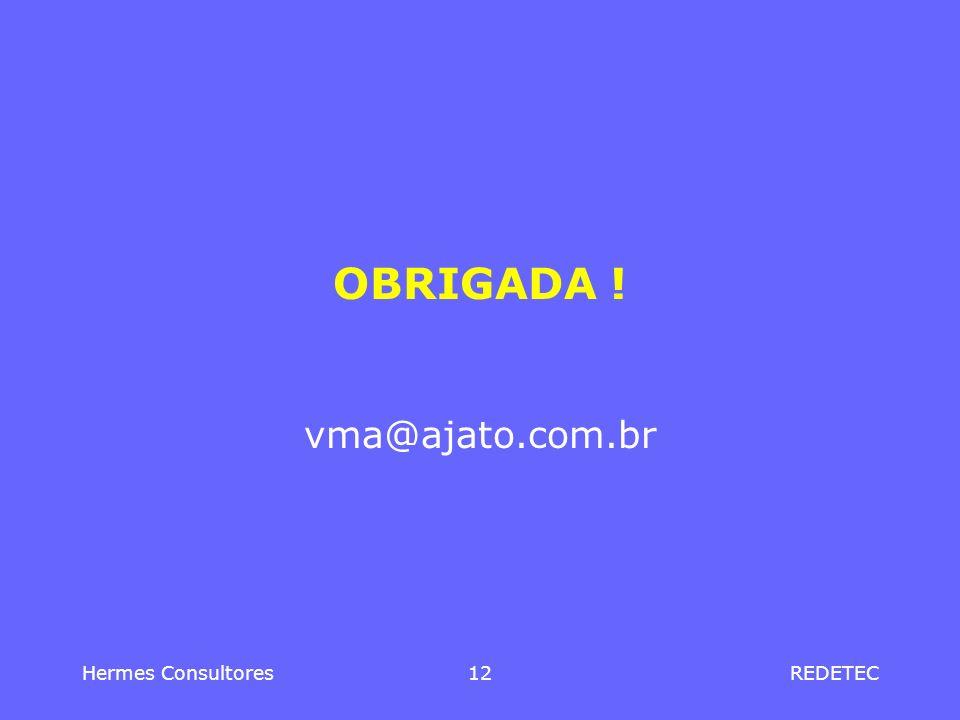 OBRIGADA ! vma@ajato.com.br Hermes Consultores 12