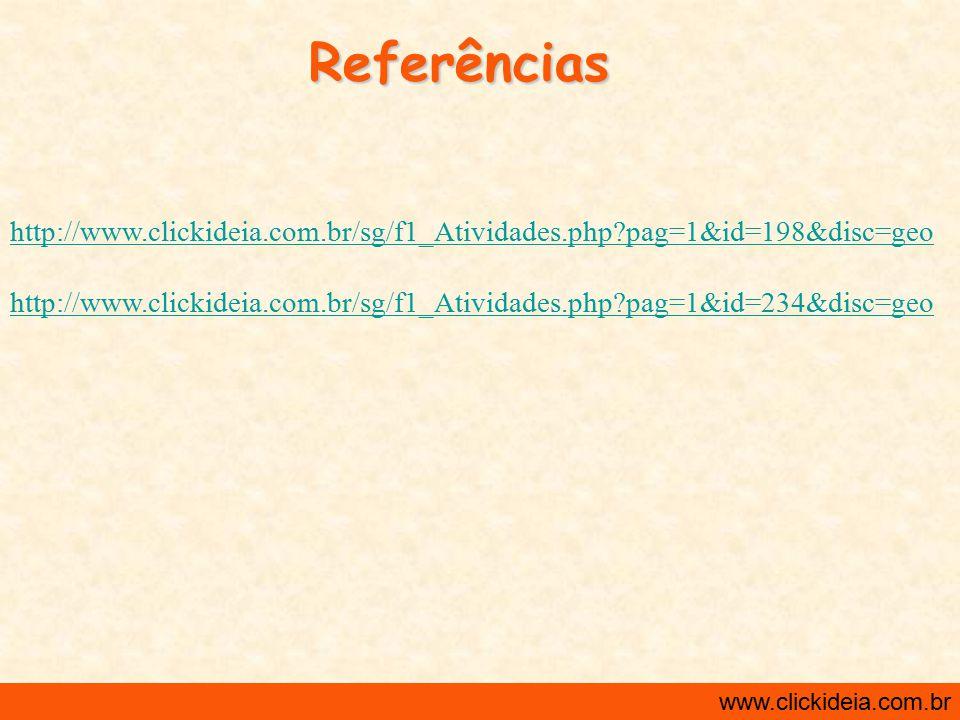 Referências http://www.clickideia.com.br/sg/f1_Atividades.php pag=1&id=198&disc=geo.