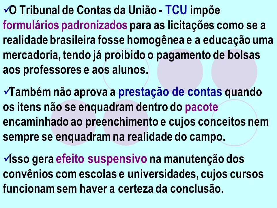 O Tribunal de Contas da União - TCU impõe formulários padronizados para as licitações como se a realidade brasileira fosse homogênea e a educação uma mercadoria, tendo já proibido o pagamento de bolsas aos professores e aos alunos.