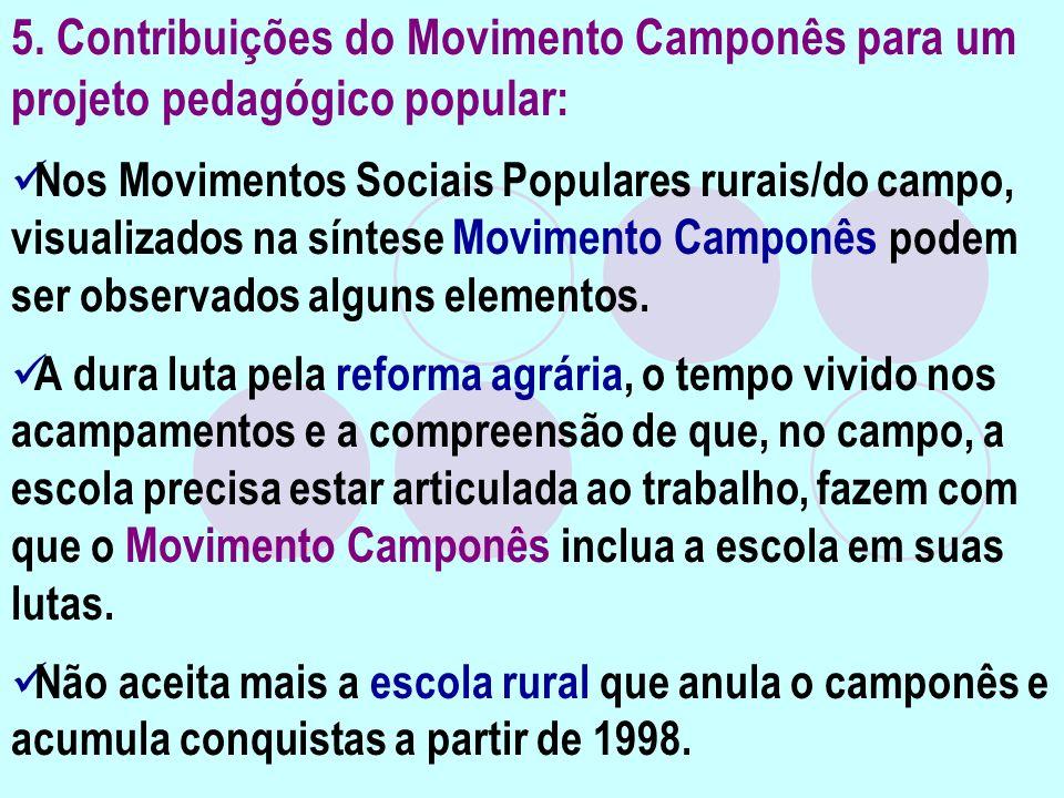 5. Contribuições do Movimento Camponês para um projeto pedagógico popular: