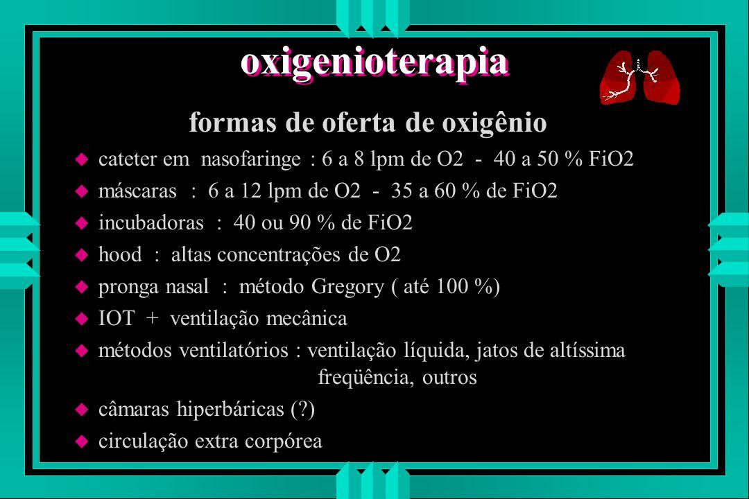 formas de oferta de oxigênio