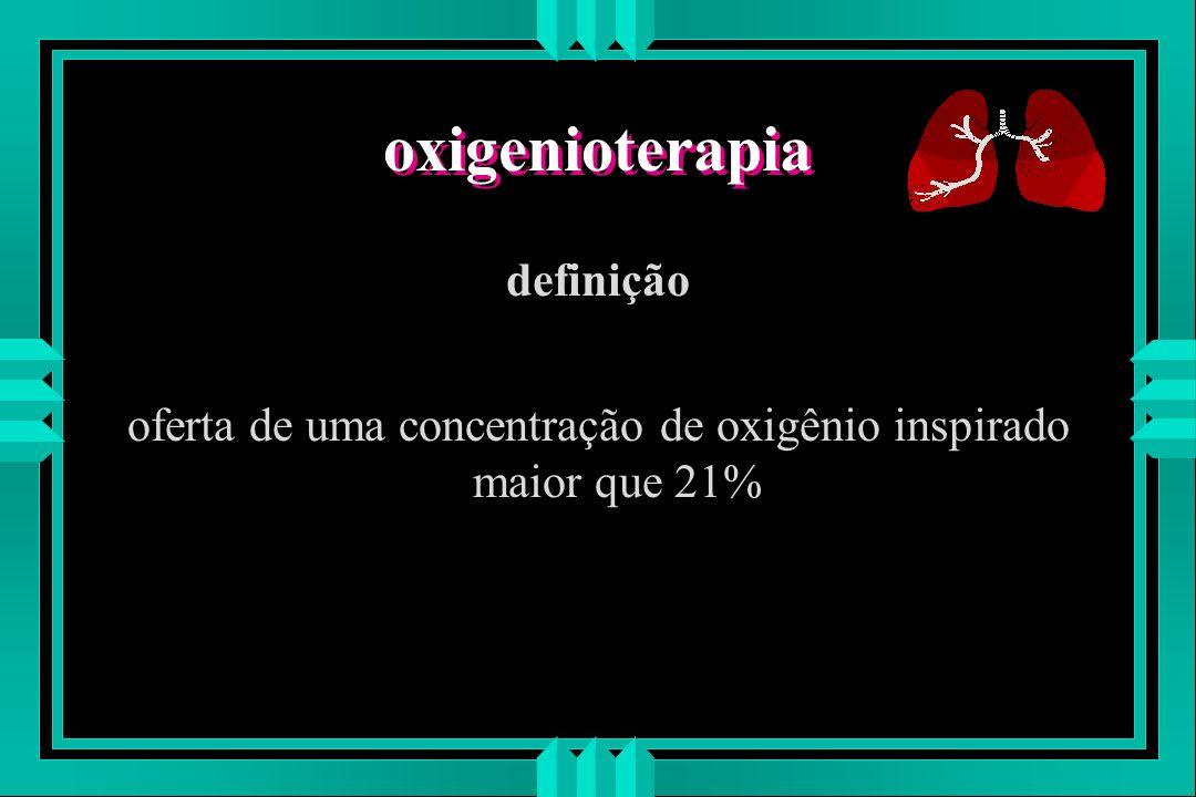 oferta de uma concentração de oxigênio inspirado maior que 21%
