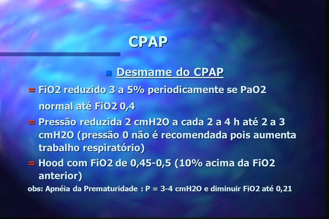 CPAP Desmame do CPAP. = FiO2 reduzido 3 a 5% periodicamente se PaO2 normal até FiO2 0,4.