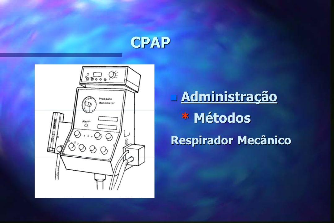 CPAP Administração * Métodos Respirador Mecânico