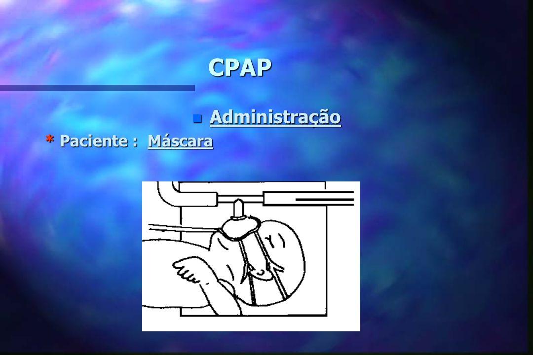 CPAP Administração * Paciente : Máscara