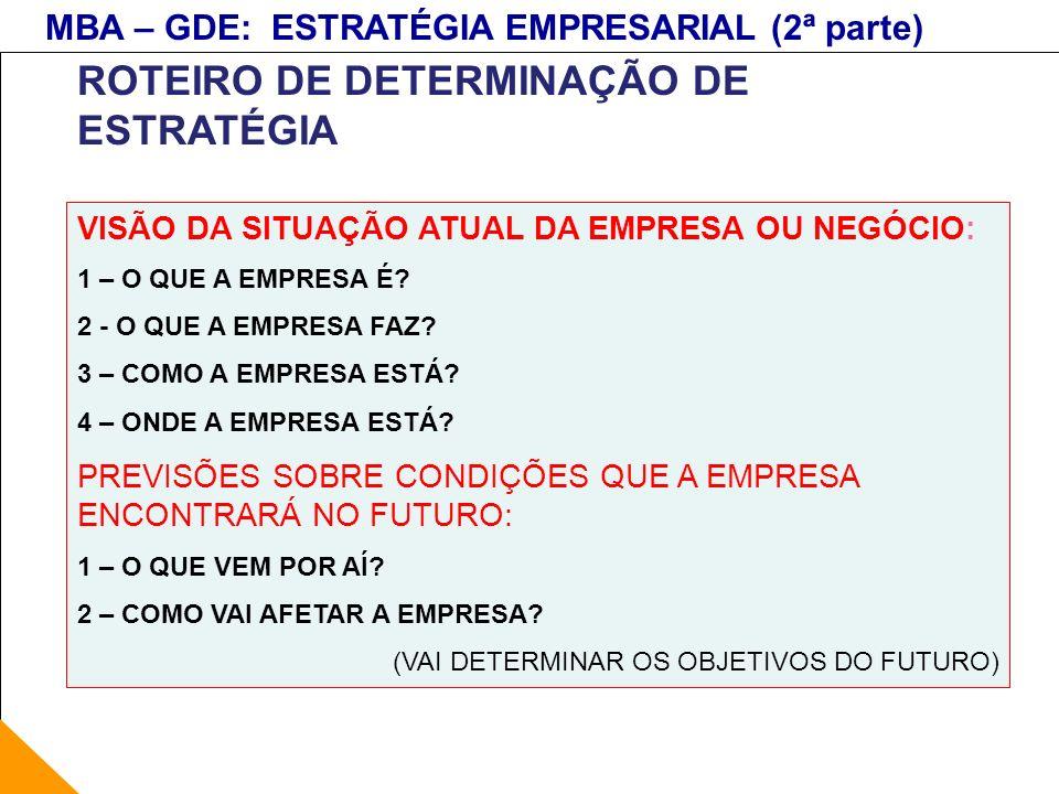 ROTEIRO DE DETERMINAÇÃO DE ESTRATÉGIA