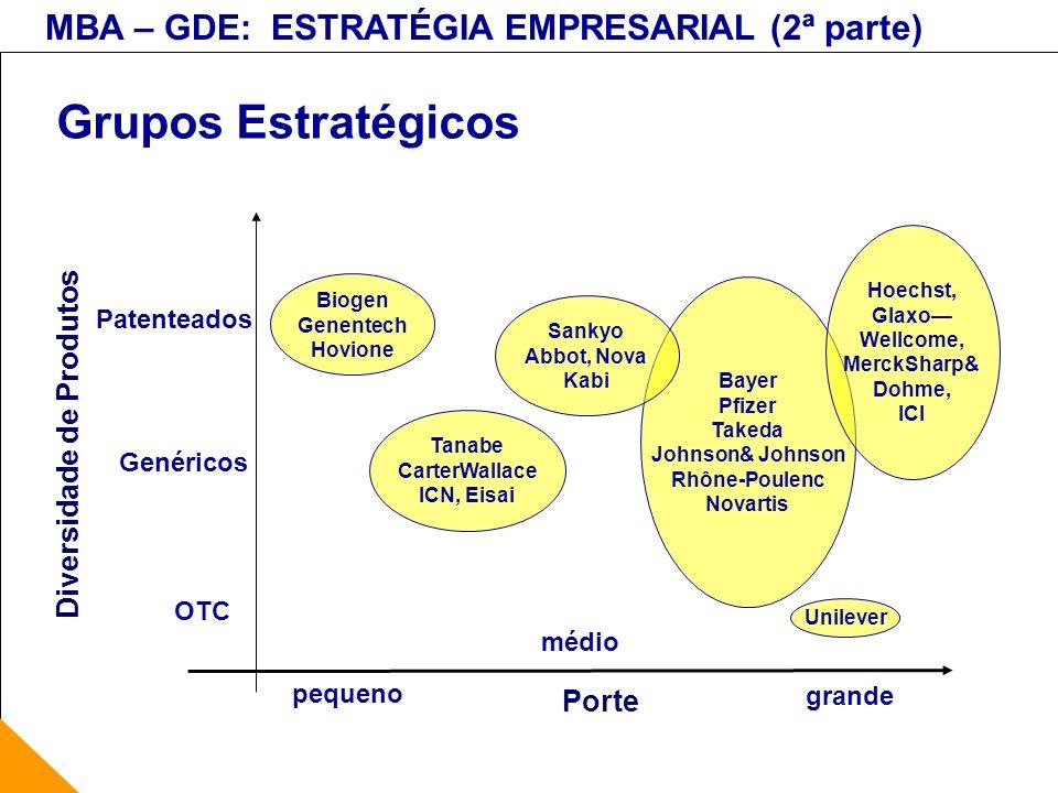 Grupos Estratégicos Diversidade de Produtos Porte Patenteados