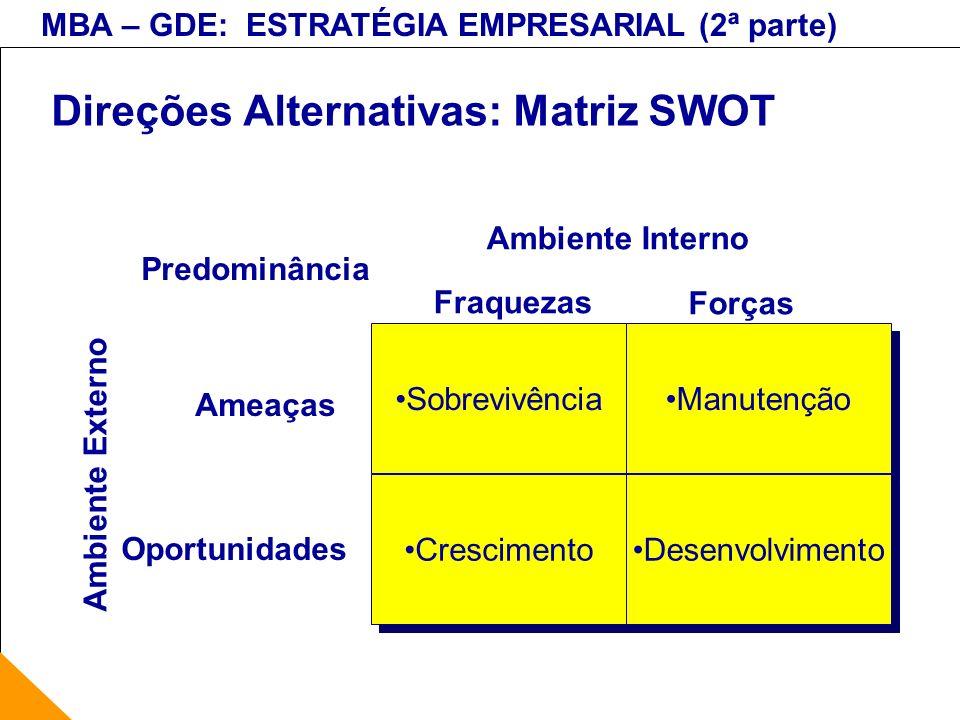Direções Alternativas: Matriz SWOT