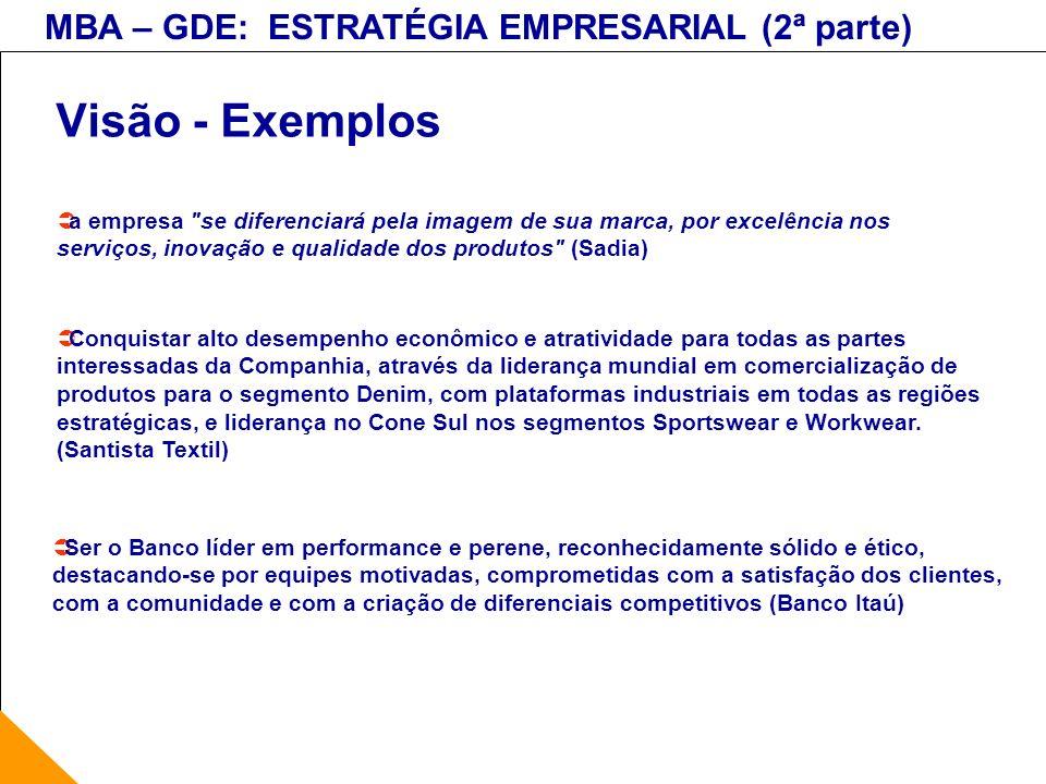 Visão - Exemplosa empresa se diferenciará pela imagem de sua marca, por excelência nos serviços, inovação e qualidade dos produtos (Sadia)
