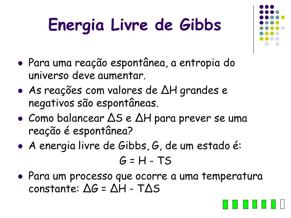 Energia Livre de Gibbs Para uma reação espontânea, a entropia do universo deve aumentar.
