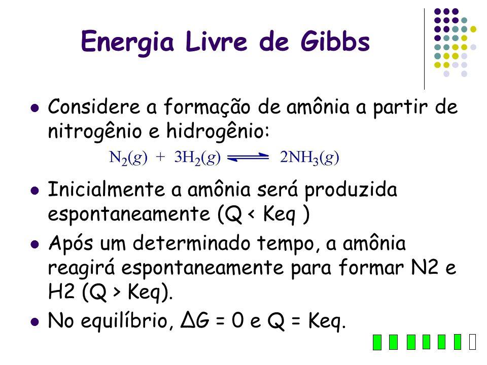 Energia Livre de Gibbs Considere a formação de amônia a partir de nitrogênio e hidrogênio: