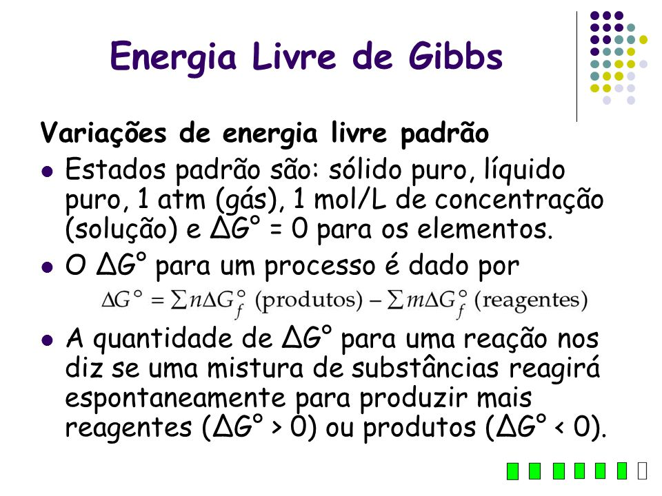 Energia Livre de Gibbs Variações de energia livre padrão
