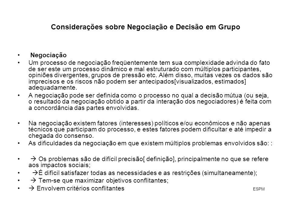 Considerações sobre Negociação e Decisão em Grupo