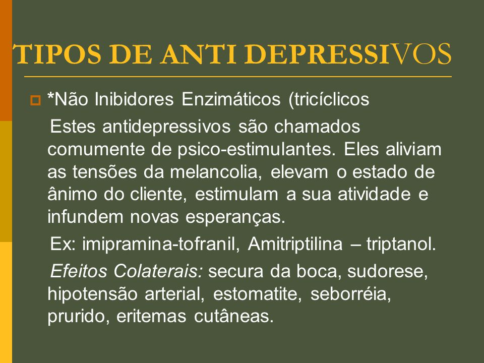 TIPOS DE ANTI DEPRESSIVOS