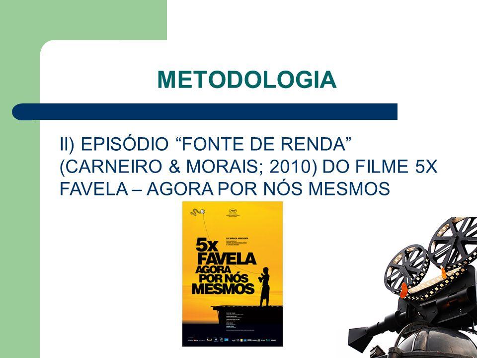METODOLOGIA II) EPISÓDIO FONTE DE RENDA (CARNEIRO & MORAIS; 2010) DO FILME 5X FAVELA – AGORA POR NÓS MESMOS.