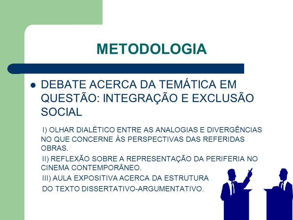 METODOLOGIA DEBATE ACERCA DA TEMÁTICA EM QUESTÃO: INTEGRAÇÃO E EXCLUSÃO SOCIAL.