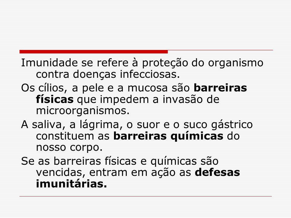 Imunidade se refere à proteção do organismo contra doenças infecciosas.