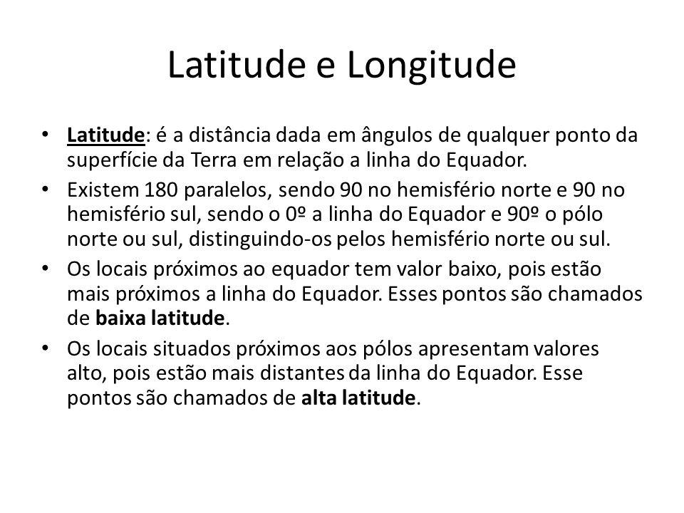 Latitude e Longitude Latitude: é a distância dada em ângulos de qualquer ponto da superfície da Terra em relação a linha do Equador.
