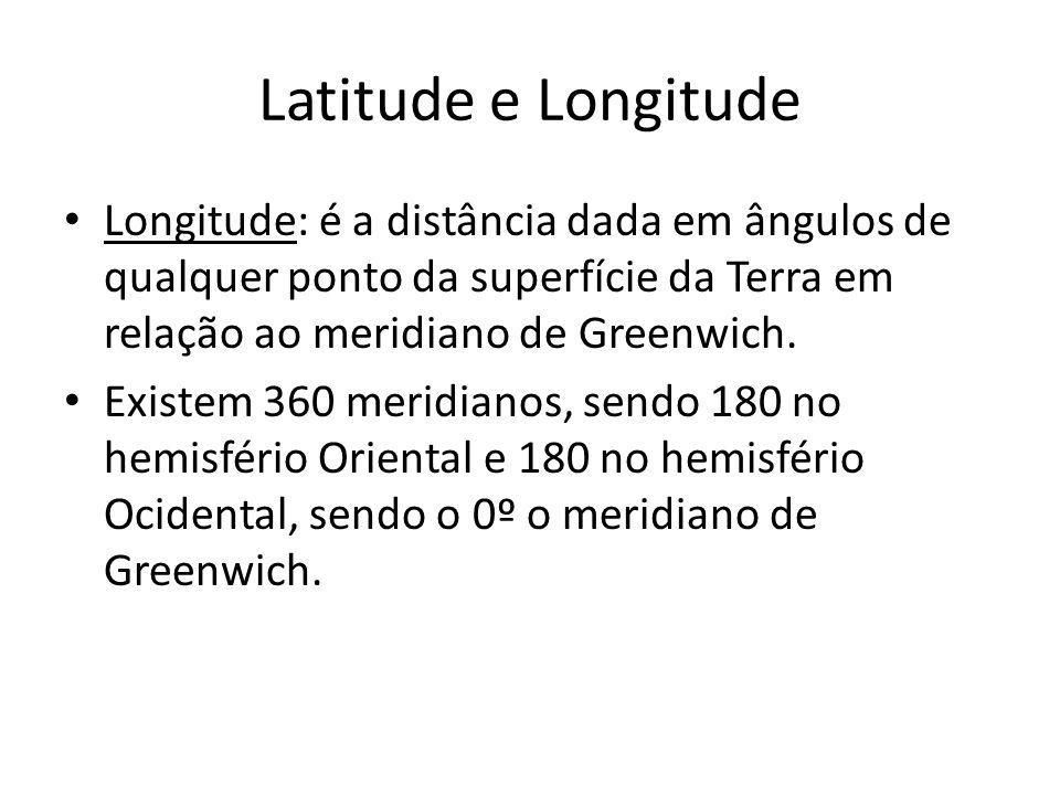 Latitude e Longitude Longitude: é a distância dada em ângulos de qualquer ponto da superfície da Terra em relação ao meridiano de Greenwich.