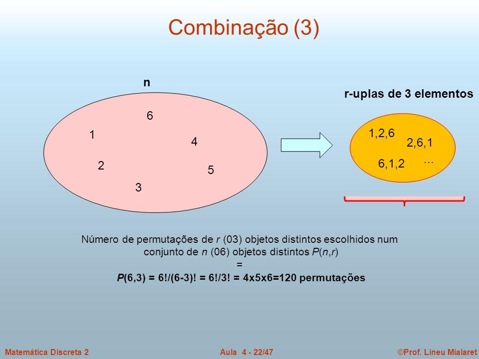 P(6,3) = 6!/(6-3)! = 6!/3! = 4x5x6=120 permutações