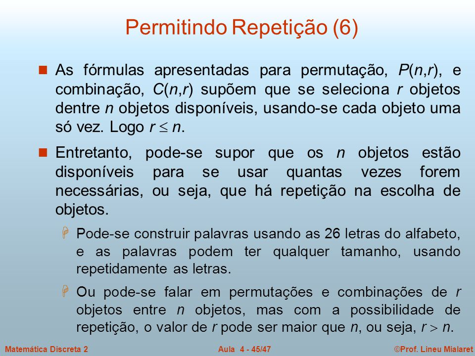 Permitindo Repetição (6)