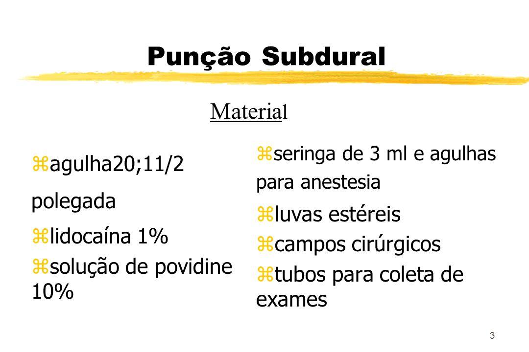 Punção Subdural Material agulha20;11/2 polegada lidocaína 1%