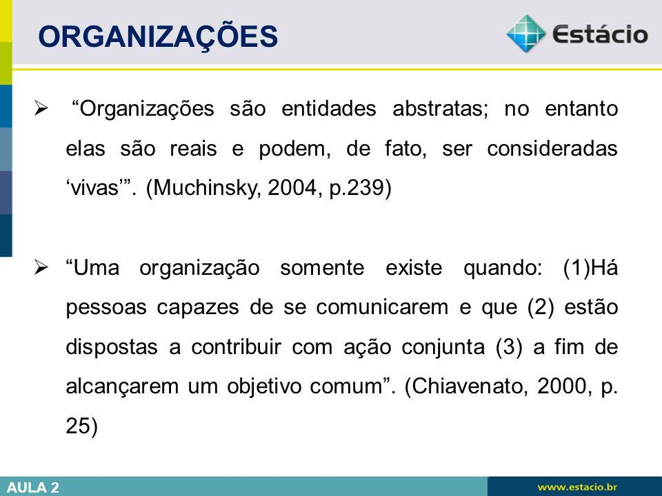 ORGANIZAÇÕES Organizações são entidades abstratas; no entanto elas são reais e podem, de fato, ser consideradas 'vivas' . (Muchinsky, 2004, p.239)