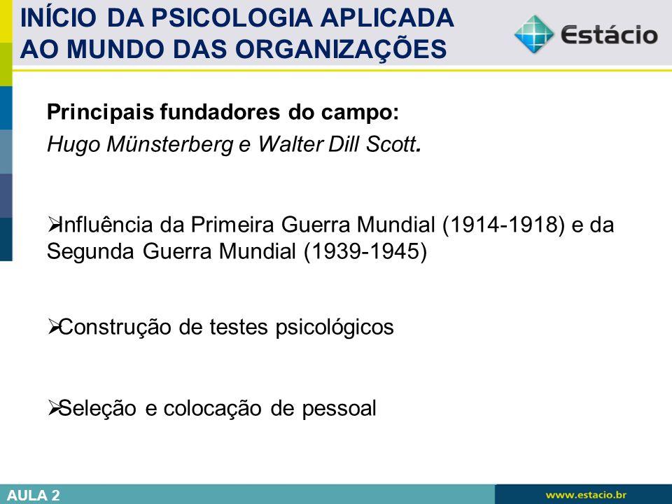 INÍCIO DA PSICOLOGIA APLICADA AO MUNDO DAS ORGANIZAÇÕES