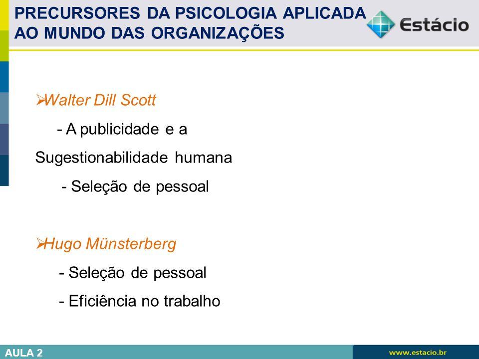 PRECURSORES DA PSICOLOGIA APLICADA AO MUNDO DAS ORGANIZAÇÕES
