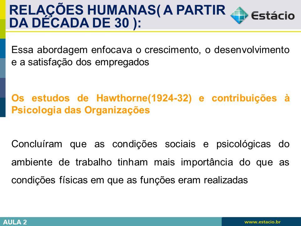 RELAÇÕES HUMANAS( A PARTIR DA DÉCADA DE 30 ):