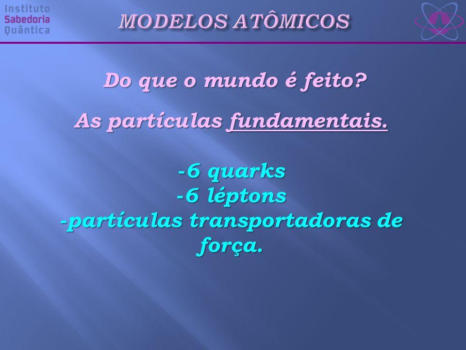 MODELOS ATÔMICOS Do que o mundo é feito. As partículas fundamentais.