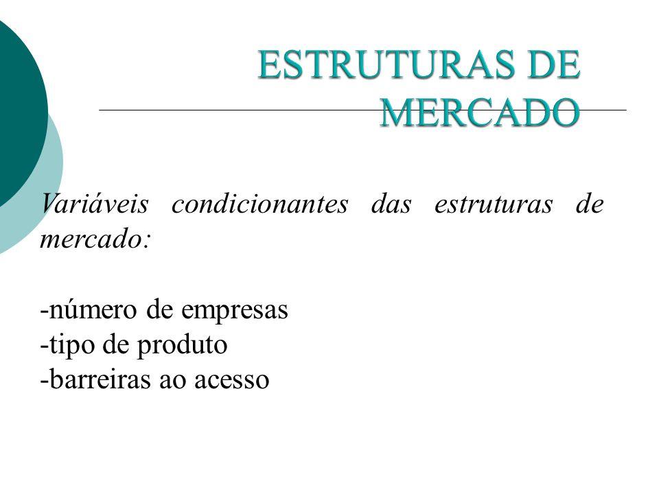ESTRUTURAS DE MERCADO Variáveis condicionantes das estruturas de mercado: -número de empresas. -tipo de produto.
