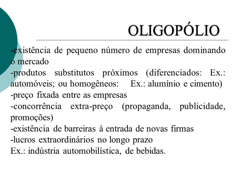OLIGOPÓLIO -existência de pequeno número de empresas dominando o mercado.