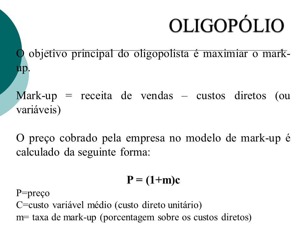OLIGOPÓLIO O objetivo principal do oligopolista é maximiar o mark-up.