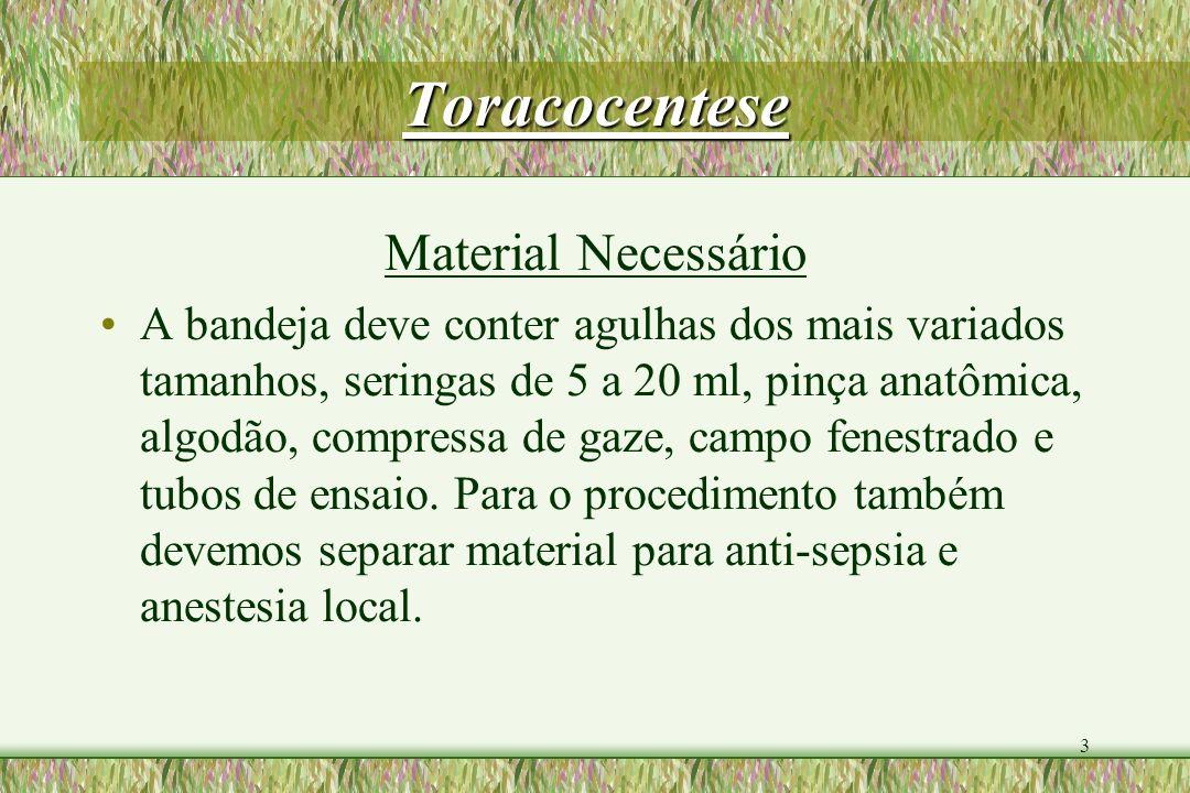 Toracocentese Material Necessário