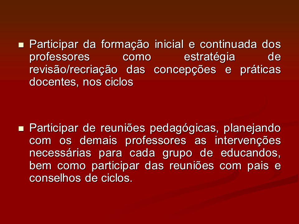 Participar da formação inicial e continuada dos professores como estratégia de revisão/recriação das concepções e práticas docentes, nos ciclos